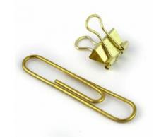 15 trombones et mini clips XL - doré - Objet à poser