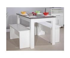 Table à manger bois Longueur 110cm + 2 bancs MENU DU JOUR - Blanc/gris - Tables salle à manger