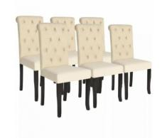 Meelady- Chaise de salle à manger housse de chaise 6 pcs Bois massif Couleur crème - Chaise