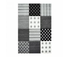 STAR Tapis pour enfant 120X170 cm gris, noir et blanc - Tapis et paillasson