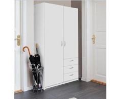 Varia Armoire de Chambre Style Contemporain Blanc - l 97 cm - Armoire