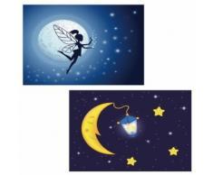 Toile de décoration murale x2 LED tableau illuminé motif fée/lune DEC04013 - Décoration murale