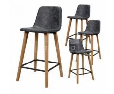 Chaise haute noire et bois ELLA, lot de 4 - Tabourets