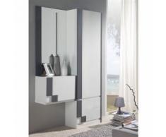 Meuble d'entrée Blanc/Cendre + armoire + miroir - SLIMAN n°2 - Commodes