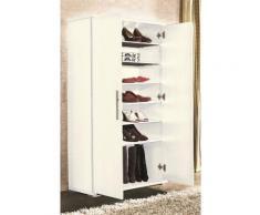 Armoire à chaussures avec 6 étagère Blanc( Livré en Kit ) -PEGANE- - Meubles à chaussures
