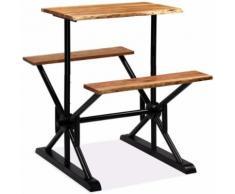 vidaXL Table de bar avec bancs Bois massif d'acacia 80 x 50 x 107 cm - Tables salle à manger
