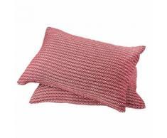 Lot de 2 coussins rectangulaires déhoussables en coton - dessin jacquard Toison d'or Rouge foncé 40x60 cm - Textile séjour