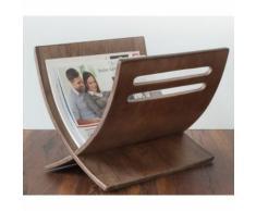 Porte revue en bois rangement magazines marron 30x29x36 cm DIV06002 - Objet à poser