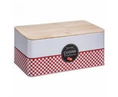 Paris Prix - Boite à Pain cuisine Tradition 31cm Rouge - Accessoires de rangement