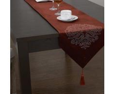 Chemin de table à motif géométrique en polyester Rouge - linge de table et décoration
