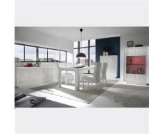 Nouvomeuble - Salle a manger design blanc laqué mat motifs erine 4 - Tables salle à manger