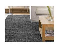 Tapis shaggy poil long 100% polypropylène 160x230cm gris DOUCEUR - Tapis et paillasson