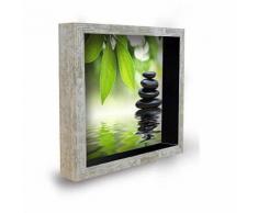 Tableau déco cadre vitrine 20x20 - Galets zen vert - Décoration murale