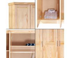 Grande armoire 3 portes avec penderie et 3 étagères en pin massif vernis naturel - Armoire
