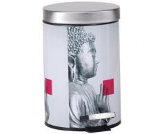 Poubelle Salle De Bain En Inox Toilette WC Décor Zen Statue Bouddha 3L - Poubelle