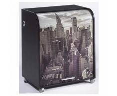 Meuble Informatique Noir à Roulettes Rideau Imprimé New York - Postes Informatiques