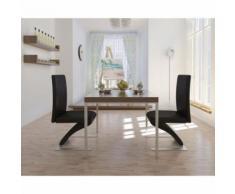 Meelady Chaise de Salle à Manger Chaise de Cuisine avec Pieds en Fer 2pcs Similicuir Noir - Chaise