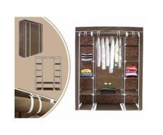 Penderie, Armoire, 3 portes, 172 x 134 x 43 cm, Marron, Matériau: Tubes en acier inoxydable, Connecteurs de tuyaux en plastique - Patères et portant
