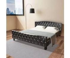 Meelady Cadre de Lit Double pour Adulte en Cuir Artificiel Ultra-Brillant Style Moderne Noir 180 x 200 cm - Cadre de lit