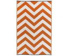 Fab Hab Intérieur / Tapis extérieur Laguna - Orange Peel & blanc (120cm x 180cm) - Tapis et paillasson