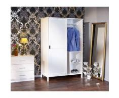 Armoire dressing penderie MAFRA portes coulissantes massif blanc vernis - Armoire