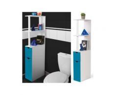 Meuble wc étagère bois gain de place pour toilette 2 portes bleues - Installations salles de bain