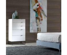 Chiffonnier design blanc laqué et noir EMILIA - L 59,5 x P 46 x H 120 cm - Commodes