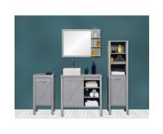 Ensemble meuble sous-vasque sdb 85 cm + miroir marina - Meubles de salle de bain