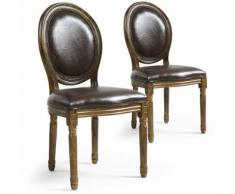Lot de 2 chaises de style médaillon Louis XVI Simili (P.U) Marron bois patiné Or - Chaise