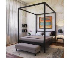 Lit double à baldaquin romance 160x200 / noir - Cadre de lit