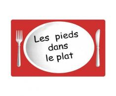 Grand Tapis De Cuisine Soft Design Humour Pieds Dans Le Plat 45x70cm Rouge - Tapis et paillasson
