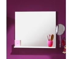 Miroir de salle de bain blanc avec tablette, H 57 x L 60 x P 11 cm -PEGANE- - Miroir