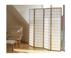 Paravent en bois coloris blanc shoji, L 176 x P 2.2 x H 175 cm -PEGANE- - Objet à poser