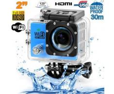 Camera sport wifi étanche caisson waterproof 12 MP Full HD Bleu - Caméscope à carte mémoire
