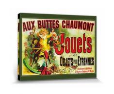 Vintage Poster Reproduction Sur Toile, Tendue Sur Châssis - Aux Buttes Chaumont, Jouets Et Objets Pour Étrennes, Jules Cheret, 1885 (60x80 cm) - Décoration murale