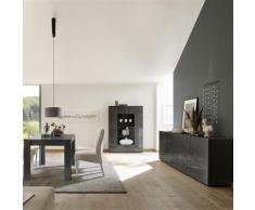 Salle a manger design buffet 4 portes gris laqué ELMA 2 - L 180 x P 90 x H 79 cm - Tables salle à manger