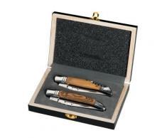 Coffret en bois 2 couteaux pliants avec et sans tire-bouchon Laguiole - couverts