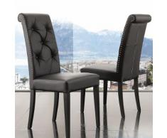 Chaise capitonnée noire design BETTY (lot de 2) - L 49 x P 62 x H 104 cm - Chaise
