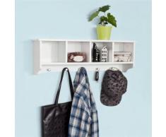 SoBuy® Étagère murale Porte-manteau salle de bain avec 5 crochets , FRG48-L-W FR - Portes manteaux