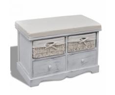 vidaXL Banc de rangement blanc en bois avec 2 paniers tissage et tiroirs - Bancs