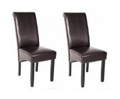 Lot de 2 chaises de salle à manger salon cuisine marron foncé - Chaise