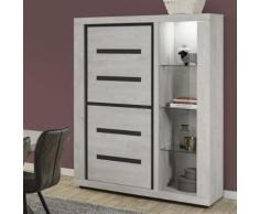 Vaisselier lumineux contemporain couleur bois gris LUCAS - L 132 x P 48 x H 182 cm - Vaisseliers