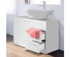 Meuble sous lavabo blanc avec 3 tiroirs pour vasque de salle de bain - Accessoires salles de bain et WC