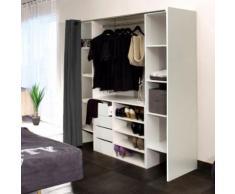 DRESS Kit dressing extensible + rideau contemporain blanc et anthracite - L 112-185 cm - Armoire