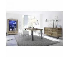 Salle à Manger Complète Planches bois/Métal - PALERME - Tables salle à manger