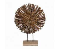 L'Héritier Du Temps - Sculpture en bois naturel sur socle statuette décoration contemporaine statue branche de bois taillée 12x39x57cm - Objet à poser
