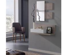Meuble d'entrée Blanc/chêne clair + miroir - LISIA - Commodes