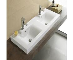 Lavabo à Poser Double vasque, 120x46 cm, Céramique, Essentiel - Installations salles de bain