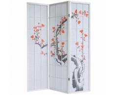 Paravent 3 panneaux japonais en bois blanc 132x175 cm PAR06016 - Objet à poser