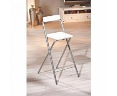 Paris Prix - Chaise De Bar Pliante Métal steam 97cm Blanc - Tabourets